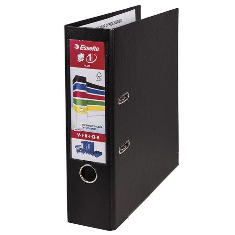 Папка-регистратор ESSELTE 80мм, А4+,VIVIDA Plus, с двухсторонним покрытием из полипропилена, черная