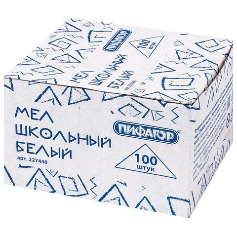 Мел белый ПИФАГОР, набор 100 шт., квадратный