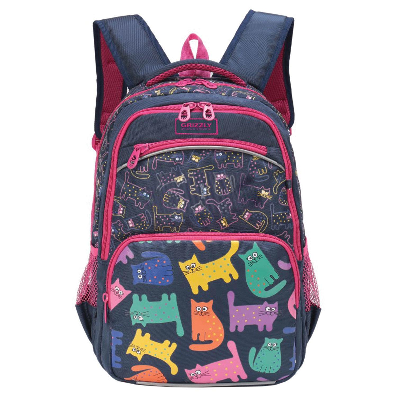 703117b122a9 Рюкзак GRIZZLY школьный, анатомическая спинка, девочка, Смарт коты,  27×38× ...