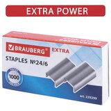 Скобы для степлера цинковое покрытие №24/6, 1000 штук, BRAUBERG