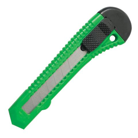 Нож канцелярский 18 мм STAFF, фиксатор, цвет корпуса ассорти, упаковка с европодвесом