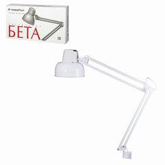 Светильник настольный «Бета», на струбцине, лампа накаливания/<wbr/>люминесцентная/<wbr/>светодиодная до 60 Вт, белый, высота 70 см, Е27