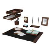 Набор GALANT настольный из дерева, 10 предметов, орех, двойной лоток, часы, фоторамка