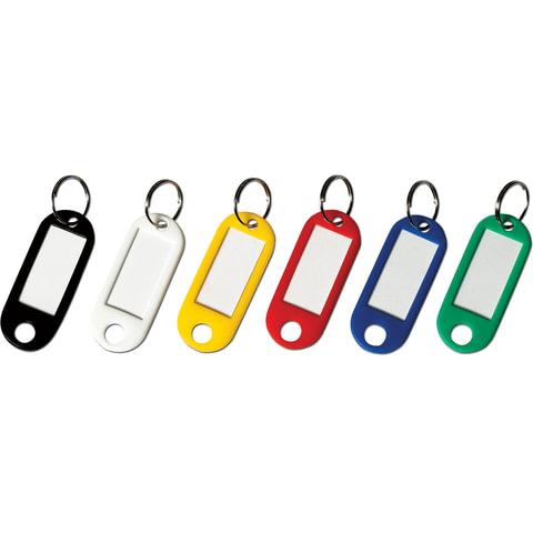 Брелоки для ключей BRAUBERG, комплект 12 шт., длина 50 мм, инфо-окно 30х15 мм