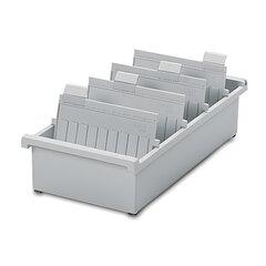 Картотека пластиковая HAN (Германия), А5, открытая, горизонтальная, на 1300 карточек, 210×148 мм, серая
