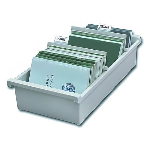 Картотека пластиковая HAN (Германия), А6, открытая, горизонтальная, на 1300 карточек, 148х105 мм, серая