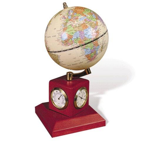 Глобус на подставке с часами, термометром и гигрометром GALANT, цвет — красное дерево, диам. 90 мм