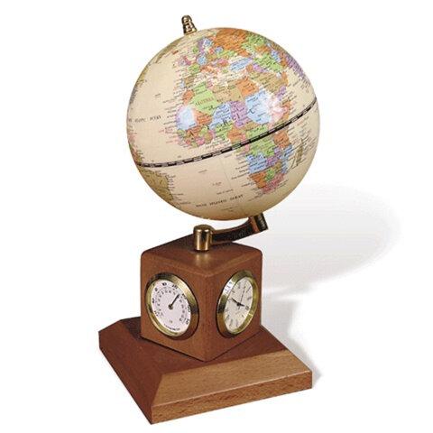 Глобус на подставке с часами, термометром и гигрометром GALANT, цвет — орех, диаметр 90 мм