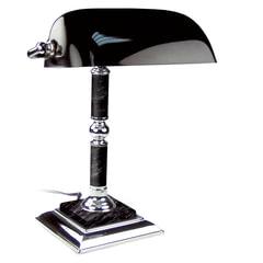 Светильник настольный из мрамора GALANT, основание — черный мрамор с серебристой отделкой