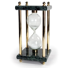 Песочные часы GALANT на 15 минут, зеленый мрамор с золотистой отделкой