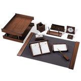 Набор GALANT настольный из дерева, 11 предметов, орех, двойной лоток, часы
