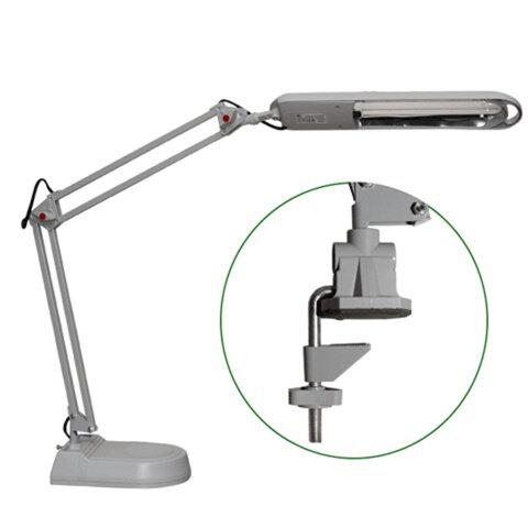 Светильник настольный КТ008A+C на подставке+струбцина, люминесцентный, 11 Вт, серый, высота 60 см