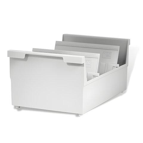 Картотека пластиковая HAN (Германия), А5, открытая, горизонтальная, высокий бортик, на 1000 карточек, 210×148 мм, серая