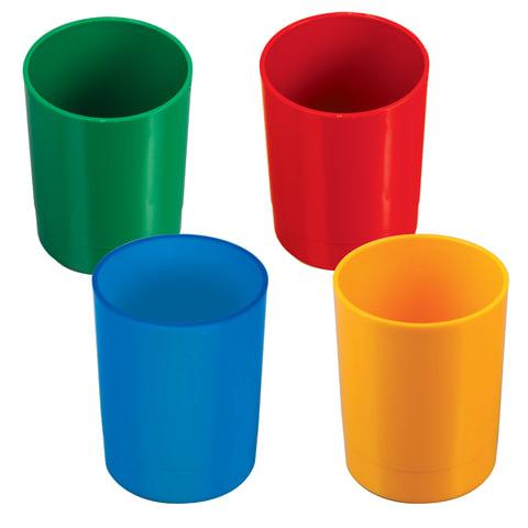 Подставка-органайзер СТАММ (стакан для ручек), 70х70х90 мм, ассорти, 4 цвета