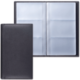 Визитница трехрядная BRAUBERG «Favorite» (БРАУБЕРГ «Фаворит»), под классическую кожу, на 144 визитки, черная