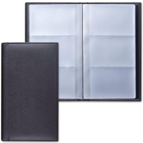 """Визитница трехрядная BRAUBERG """"Favorite"""", под классическую кожу, на 144 визитки, черная"""