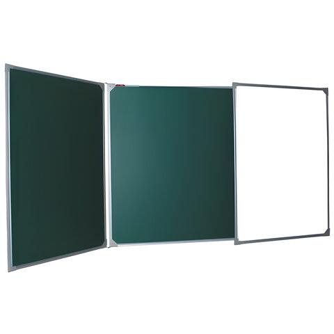 Доска для мела магнитно-маркерная BOARDSYS, 100х150/300 см, 3-элементная, 5 рабочих поверхностей