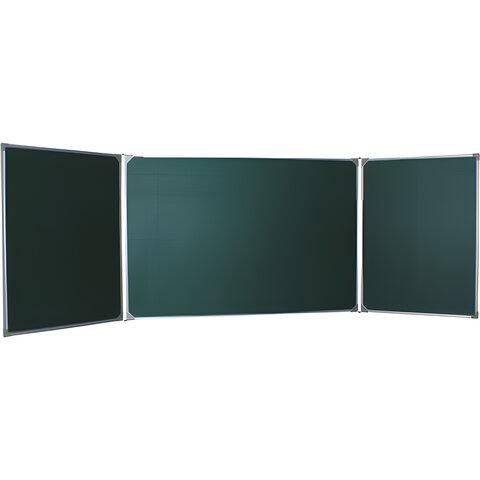 Доска для мела магнитная BOARDSYS, 100×170/<wbr/>340 см, 3-элементная, 5 рабочих поверхностей, зеленая
