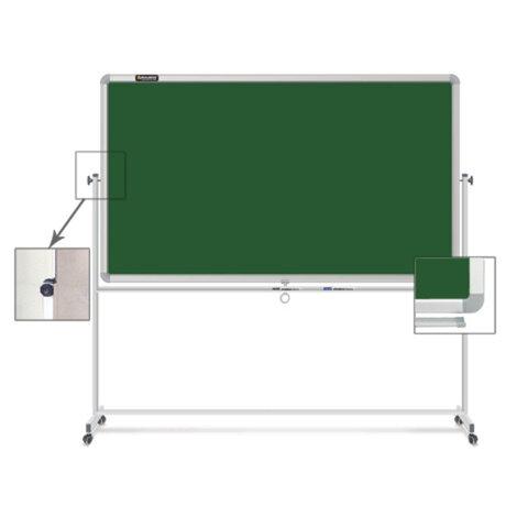 Доска для мела магнитная BRAUBERG (БРАУБЕРГ), 2-сторонняя, 90×120 см, передвижная, зеленая, ГАРАНТИЯ 10 ЛЕТ