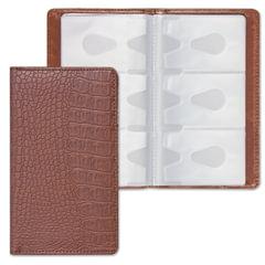 Визитница/<wbr/>кредитница трехрядная BRAUBERG «Cayman», под крокодиловую кожу, на 96 визиток, коричневая