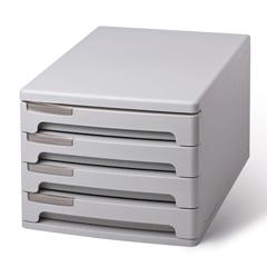 Блок из 4 закрытых лотков для бумаги, настольный, ERICH KRAUSE, А4+, 210×270×360 мм, серый