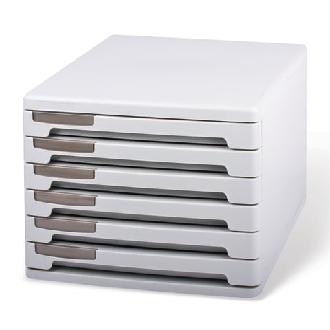 Блок из 6 закрытых лотков для бумаги, настольный, ERICH KRAUSE, 210х270х365 мм, серый