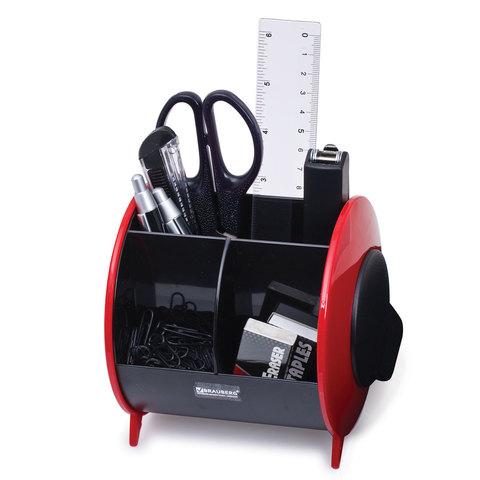 Канцелярский набор BRAUBERG, 10 предметов, вертикальная вращающаяся конструкция, черный/красный, блистер
