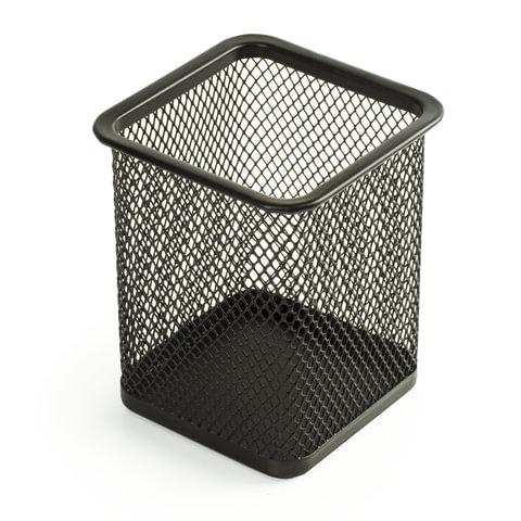 """Подставка-органайзер BRAUBERG """"Germanium"""", металлическая, квадратное основание, 98х80х80 мм, черная"""
