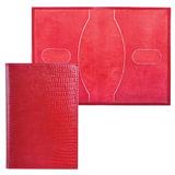 Обложка для паспорта BEFLER «Ящерица», натуральная кожа, тиснение, красная