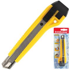 Нож универсальный 18 мм ERICH KRAUSE «Universal», автофиксатор, желтый, + 2 лезвия, блистер