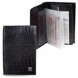 Обложка для документов (авто, паспорт, пластиковые карты) SERGIO BELOTTI (Италия), кожа, тиснение «ящерица», 6 карманов, черная