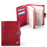 Обложка для документов (авто, паспорт, пластиковые карты) SERGIO BELOTTI (Италия), кожа, тиснение «ящерица», 6 карманов, красная