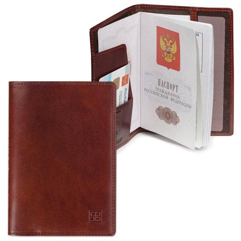 Обложка для паспорта SERGIO BELOTTI, натуральная кожа, коричневая, Италия
