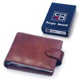 Визитница карманная SERGIO BELOTTI (Италия) на 16 визиток, натур. кожа, застежка-кнопка, коричневая