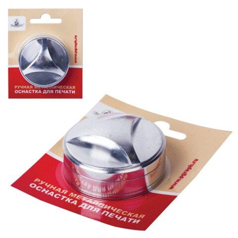 Оснастка ручная для печати D=40 мм, «Звезда», с клеевым слоем, корпус металлический, «серебро», с подушкой