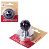 Оснастка ручная для печати D=40 мм, «Сириус», корпус — металлический «серебристый», ручка — стекло черное, с подушкой