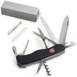 Подарочный нож VICTORINOX «Outrider», 111 мм, складной, с фиксирующимся лезвием, черный, 14 функций
