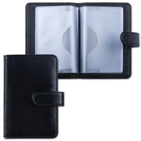 Визитница/<wbr/>кредитница однорядная GALANT «Ritter», под гладкую кожу, на 24 карты, магнитная застежка, черная