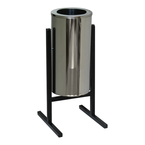 Урна металлическая уличная, 720×330×405 мм, 25 л, бак нержавеющая сталь, каркас черный