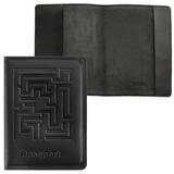 Обложка для паспорта BEFLER «Лабиринт», натуральная кожа, тиснение, черная