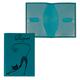 Обложка для паспорта BEFLER «Изящная кошка», натуральная кожа, тиснение, бирюзовая