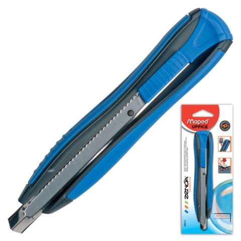 Нож универсальный MAPED (Франция) «Zenoa», 9 мм, автофиксатор, резиновые вставки, цвет корпуса черно-синий, блистер