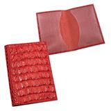 Обложка для паспорта BEFLER «Кайман», натуральная кожа, тиснение «крокодил», красная