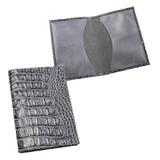 Обложка для паспорта BEFLER «Кайман», натуральная кожа, тиснение «крокодил», серая