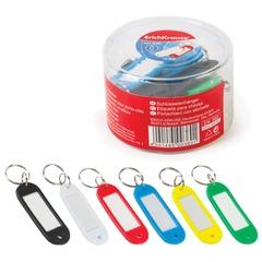 Брелоки для ключей ERICH KRAUSE, комплект 12 шт., длина 58 мм, инфо-окно 35×15 мм