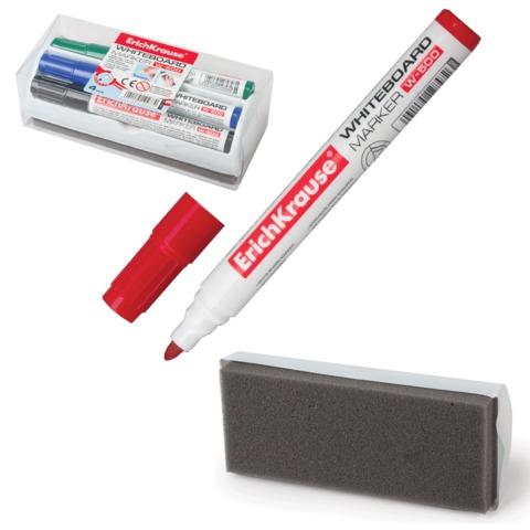 Набор для магнитно-маркерной доски ERICH KRAUSE, 4 маркера+стиратель, W500 круглый наконечник 2,5 мм, черный, синий, красный, зел.