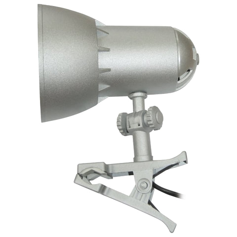 """Светильник настольный """"НАДЕЖДА-1 МИНИ"""" на прищепке, лампа накаливания с зеркальным отражающим слоем, 40 Вт, серебряный, Е27"""