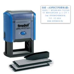 Штамп самонаборный 6-строчный, оттиск 50×30 мм, синий, без рамки, TRODAT 4929/<wbr/>DB (Австрия), кассы в комплекте