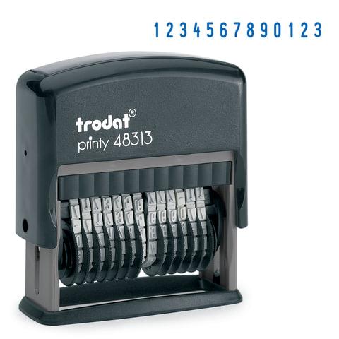Нумератор 13-разрядный, оттиск 42×3,8 мм, синий, TRODAT 48313, корпус черный
