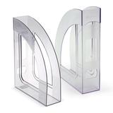 Лоток вертикальный для бумаг СТАММ «Респект», ширина 70 мм, прозрачный